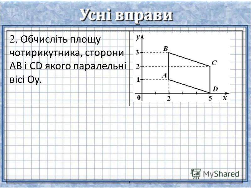 Усні вправи 2. Обчисліть площу чотирикутника, сторони АВ і CD якого паралельні вісі Оу. 3. Знайти площу паралелограма, сторона якого дорівнює 6см, а висота, проведена до неї – 7 см.
