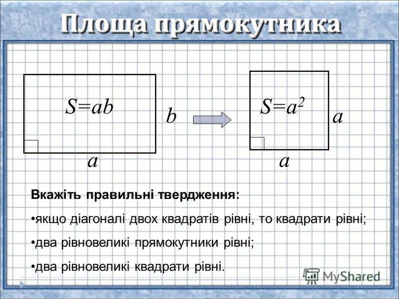 Площа прямокутника a b S=ab a a S=a 2 Вкажіть правильні твердження: якщо діагоналі двох квадратів рівні, то квадрати рівні; два рівновеликі прямокутники рівні; два рівновеликі квадрати рівні.