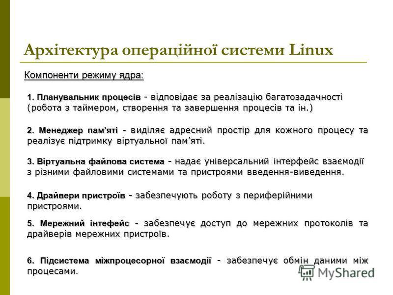 Архітектура операційної системи Linux 1. Планувальник процесів - відповідає за реалізацію багатозадачності (робота з таймером, створення та завершення процесів та ін.) 2. Менеджер памяті - виділяє адресний простір для кожного процесу та реалізує підт