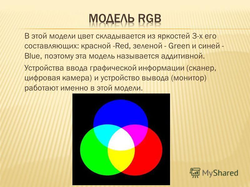В этой модели цвет складывается из яркостей 3-х его составляющих: красной -Red, зеленой - Green и синей - Blue, поэтому эта модель называется аддитивной. Устройства ввода графической информации (сканер, цифровая камера) и устройство вывода (монитор)