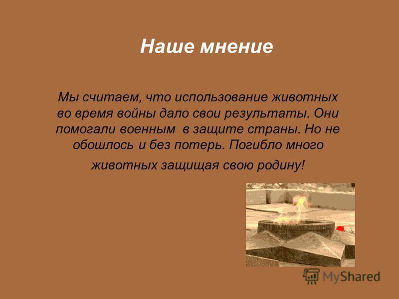 Мы считаем, что использование животных во время войны дало свои результаты. Они помогали военным в защите страны. Но не обошлось и без потерь. Погибло много животных защищая свою родину! Наше мнение