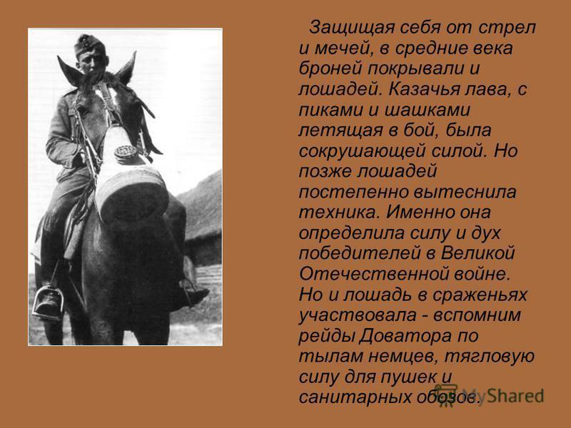 Защищая себя от стрел и мечей, в средние века броней покрывали и лошадей. Казачья лава, с пиками и шашками летящая в бой, была сокрушающей силой. Но позже лошадей постепенно вытеснила техника. Именно она определила силу и дух победителей в Великой От