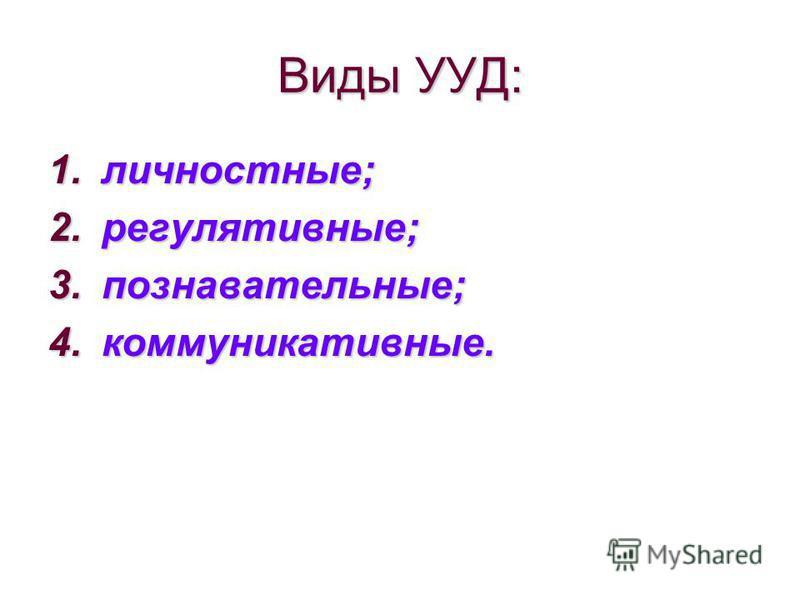 Виды УУД: 1.личностные; 2.регулятивные; 3.познавательные; 4.коммуникативные.