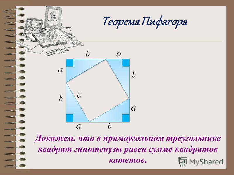 Теорема Пифагора Докажем, что в прямоугольном треугольнике квадрат гипотенузы равен сумме квадратов катетов.