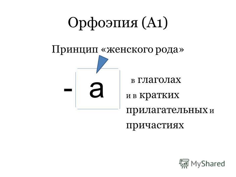 а Орфоэпия (А1) Принцип «жнеского рода» в глаголах и в кратких прилагательных и причастиях -