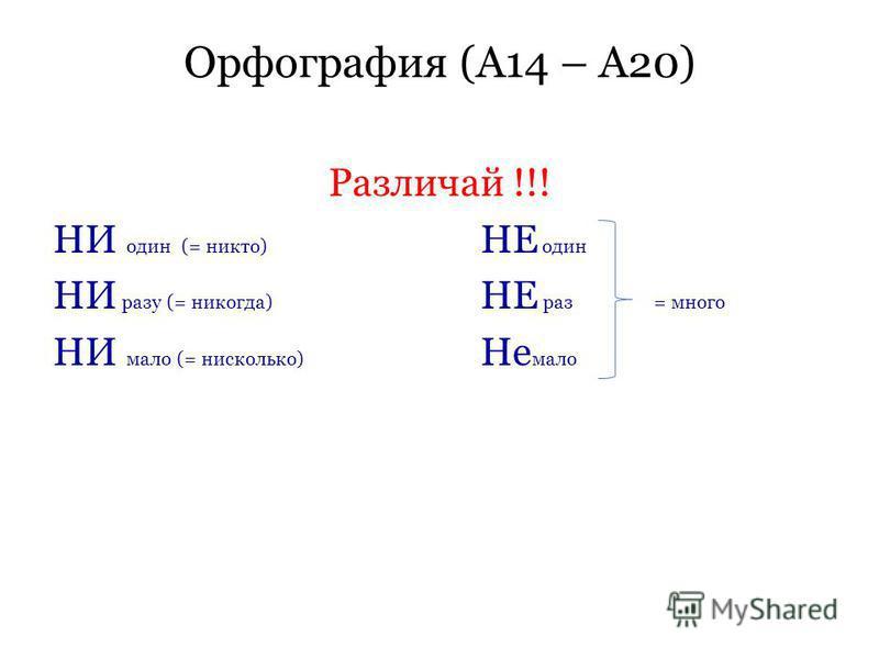 Орфография (А14 – А20) Различай !!! НИ один (= никто) НЕ один НИ разу (= никогда) НЕ раз = много НИ мало (= нисколько) Не мало