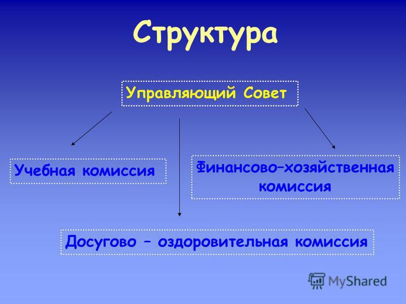 Структура Управляющий Совет Учебная комиссия Досугово – оздоровительная комиссия Финансово–хозяйственная комиссия