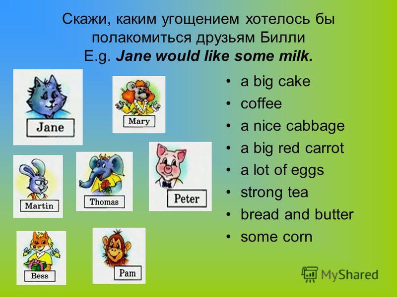 Скажи, каким угощением хотелось бы полакомиться друзьям Билли E.g. Jane would like some milk. a big cake coffee a nice cabbage a big red carrot a lot of eggs strong tea bread and butter some corn