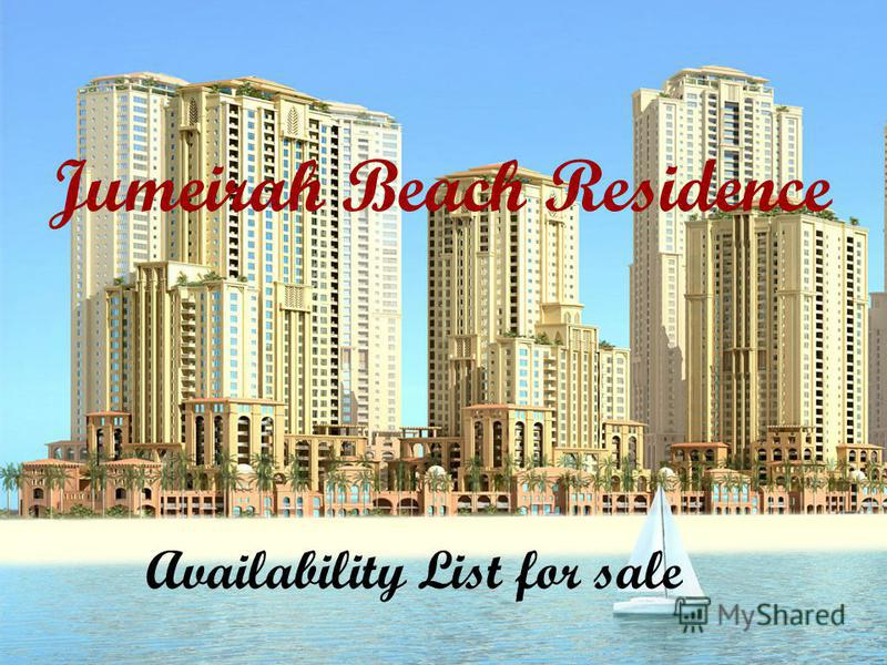 Jumeirah Beach Residence Availability List for sale