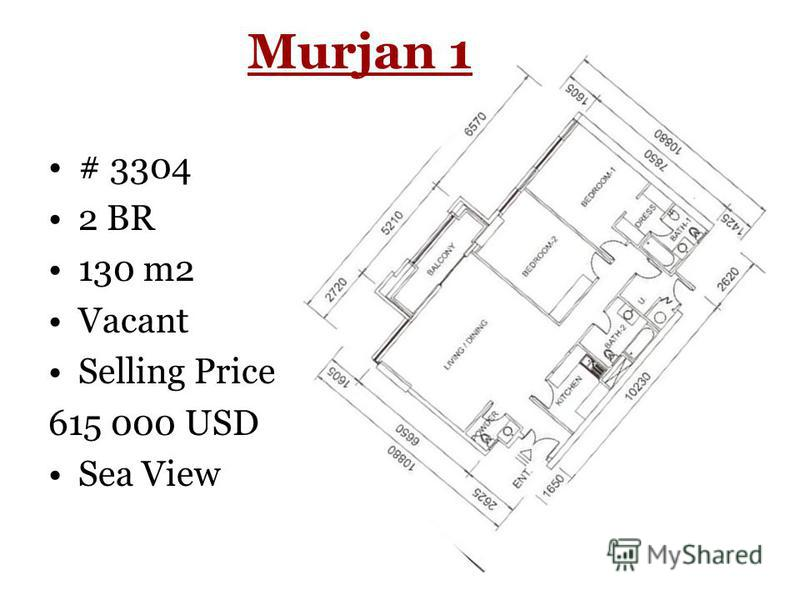 Murjan 1 # 3304 2 BR 130 m2 Vacant Selling Price 615 000 USD Sea View