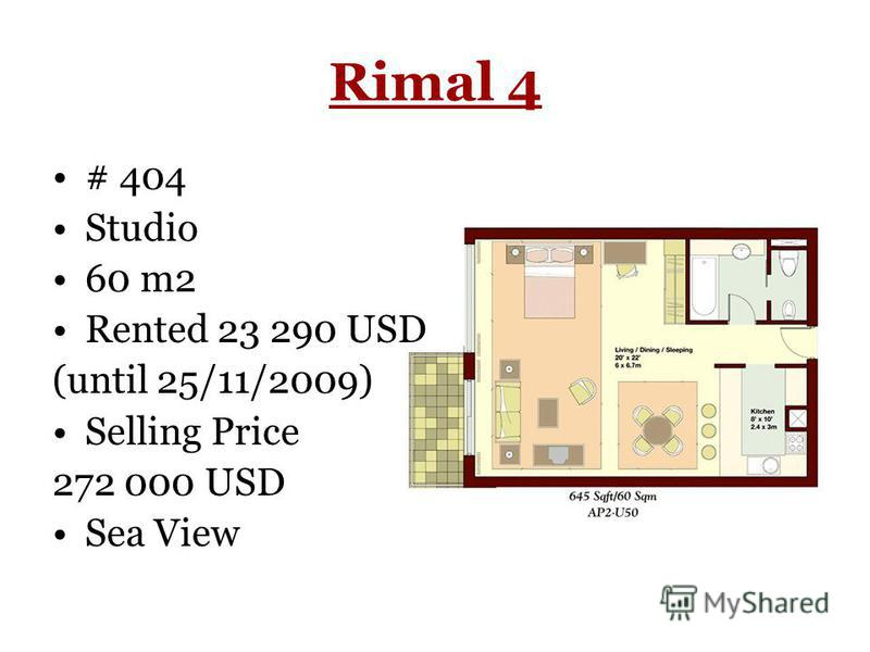 Rimal 4 # 404 Studio 60 m2 Rented 23 290 USD (until 25/11/2009) Selling Price 272 000 USD Sea View