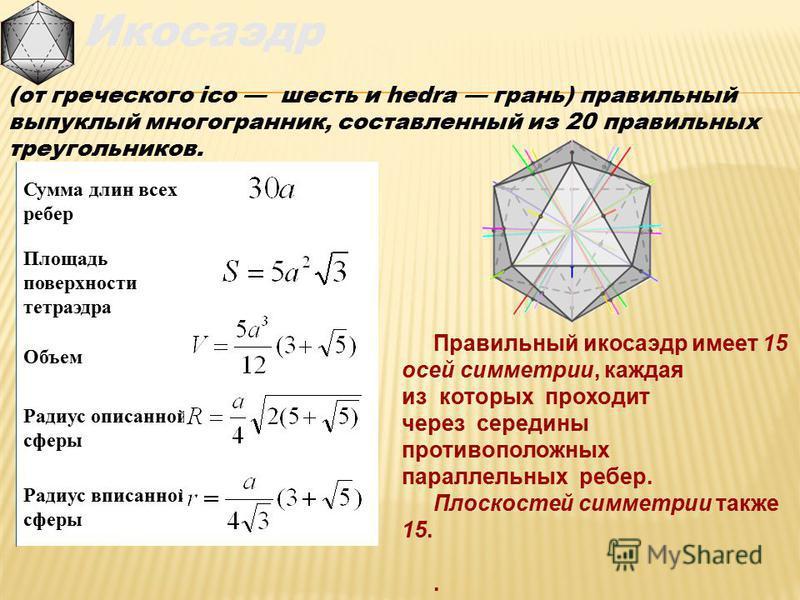 Икосаэдр (от греческого ico шесть и hedra грань) правильный выпуклый многогранник, составленный из 20 правильных треугольников. Радиус вписанной сферы Радиус описанной сферы Объем Площадь поверхности тетраэдра Сумма длин всех ребер Правильный икосаэд