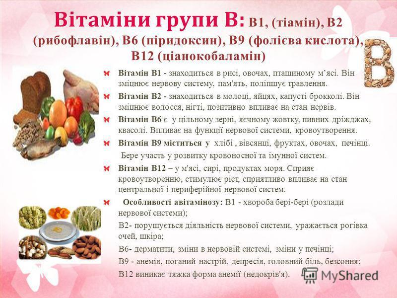 Вітаміни групи В: В1, (тіамін), В2 (рибофлавін), В6 (піридоксин), В9 (фолієва кислота), В12 (ціанокобаламін) Вітамін B1 - знаходиться в рисі, овочах, пташиному мясі. Він зміцнює нервову систему, пам'ять, поліпшує травлення. Вітамін B2 - знаходиться в