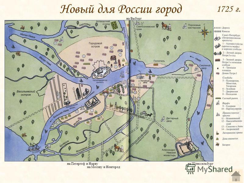 1725 г. на Петергоф и Нарву на Москву и Новгород на Выборг на Шлиссельбург Новый для России город