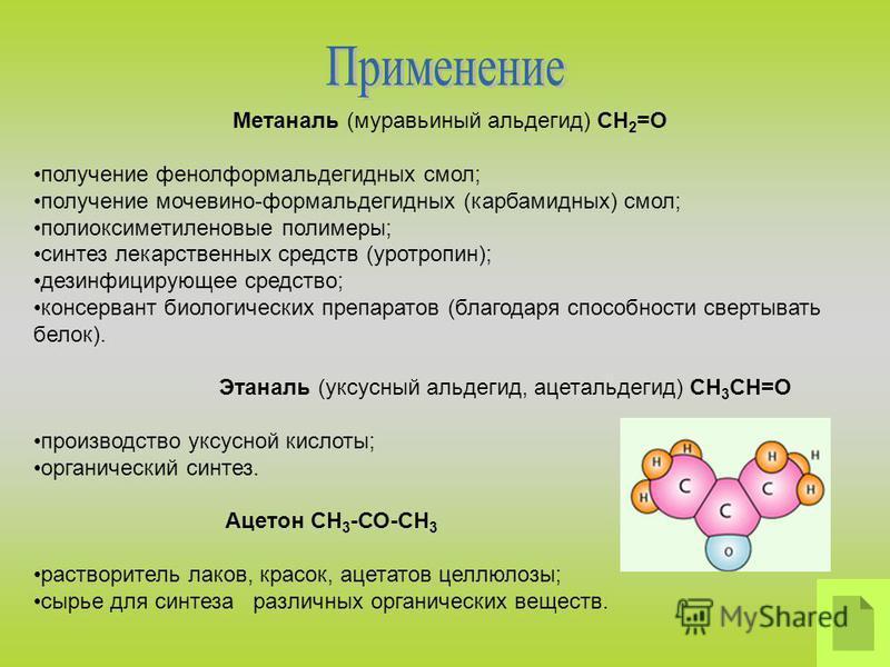 Метаналь (муравьиный альдегид) CH 2 =O получение фенолформальдегидных смол; получение мочевино-формальдегидных (карбамидных) смол; полиоксиметиленовые полимеры; синтез лекарственных средств (уротропин); дезинфицирующее средство; консервант биологичес