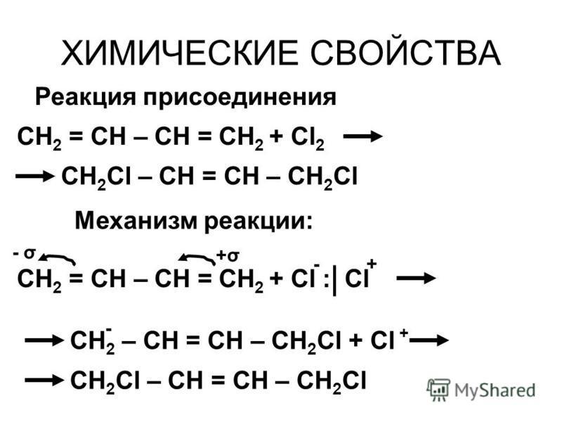 ХИМИЧЕСКИЕ СВОЙСТВА CH 2 = CH – CH = CH 2 + Сl 2 CH 2 Cl – CH = CH – CH 2 Сl Реакция присоединения Механизм реакции: CH 2 = CH – CH = CH 2 + Сl : Сl CH 2 – CH = CH – CH 2 Сl + Сl + - CH 2 Cl – CH = CH – CH 2 Сl -+ +σ+σ - σ