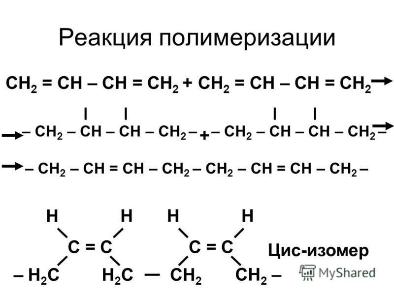 Реакция полимеризации CH 2 = CH – CH = CH 2 +CH 2 = CH – CH = CH 2 – CH 2 – CH – CH – CH 2 – + – CH 2 – CH = CH – CH 2 – CH 2 – CH = CH – CH 2 – C = C – H 2 CH2CH2C CH 2 – CH 2 C = C H HHH Цис-изомер