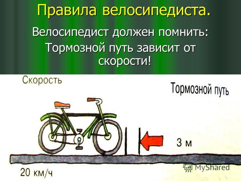 Правила велосипедиста. Правила велосипедиста. Велосипедист должен помнить: Тормозной путь зависит от скорости!