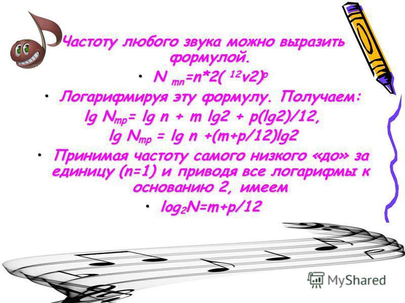 Частоту любого звука можно выразить формулой. N mn =n*2( 12 v2) pN mn =n*2( 12 v2) p Логарифмируя эту формулу. Получаем:Логарифмируя эту формулу. Получаем: lg N mp = lg n + m lg2 + p(lg2)/12, lg N mp = lg n +(m+p/12)lg2 Принимая частоту самого низког