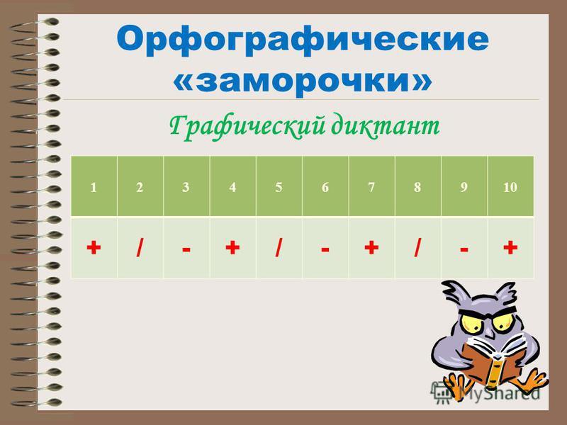 Графический диктант Орфографические «заморочки» 12345678910 +/-+/-+/-+