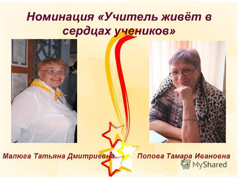 Малюга Татьяна Дмитриевна Попова Тамара Ивановна