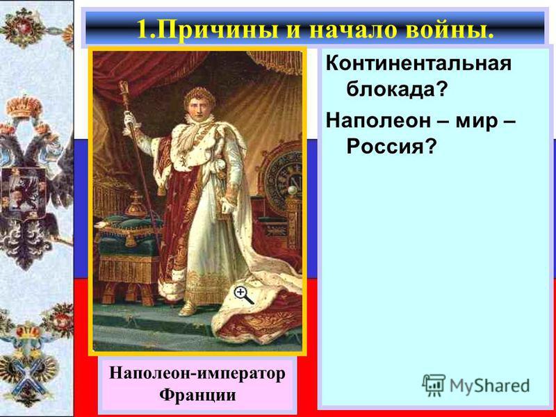 Континентальная блокада? Наполеон – мир – Россия? 1. Причины и начало войны. Наполеон-император Франции