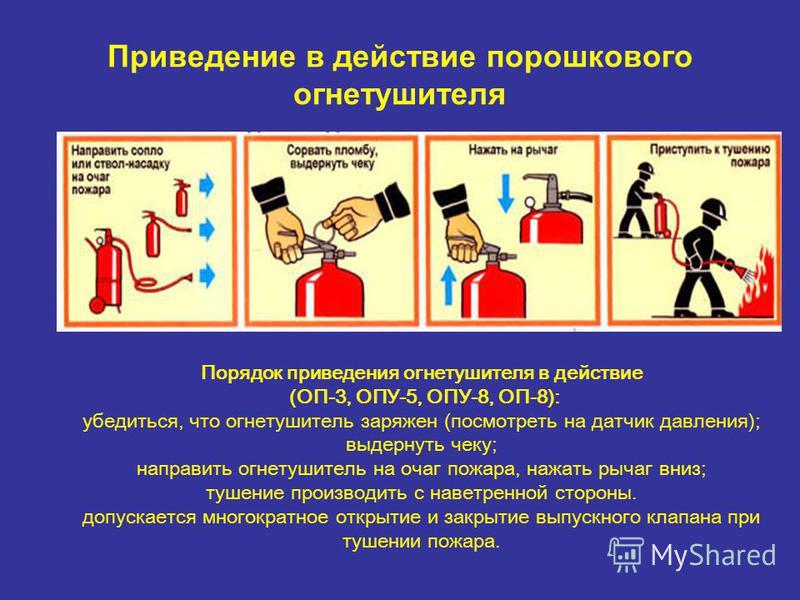 Приведение в действие порошкового огнетушителя Порядок приведения огнетушителя в действие (ОП-3, ОПУ-5, ОПУ-8, ОП-8): убедиться, что огнетушитель заряжен (посмотреть на датчик давления); выдернуть чеку; направить огнетушитель на очаг пожара, нажать р