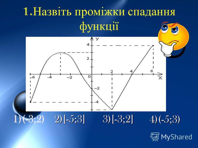 1. Назвіть проміжки спадання функції 1)(-3;2) 2)[-5;3] 3)[-3;2] 4)(-5;3)