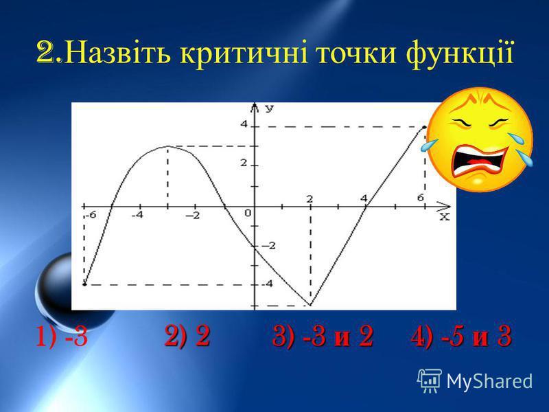 2. Назвіть критичні точки функції 1) -3 2) 2 3) -3 и 2 4) -5 и 3