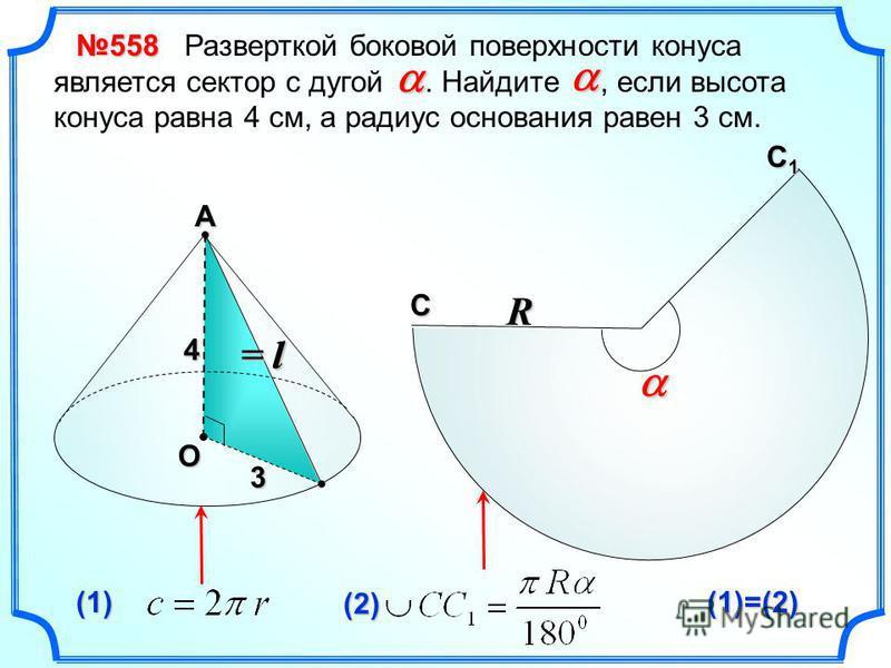 А О l 3 (1) (2) (1)=(2) С С1С1С1С1 R = l= l= l= l Разверткой боковой поверхности конуса является сектор с дугой. Найдите, если высота конуса равна 4 см, а радиус основания равен 3 см. 558558558558 4