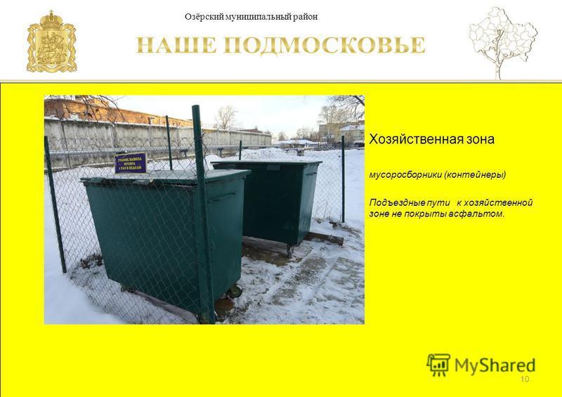 Паспорт школы Люберецкий муниципальный район Хозяйственная зона мусоросборники (контейнеры) Подъездные пути к хозяйственной зоне не покрыты асфальтом. 10 Озёрский муниципальный район