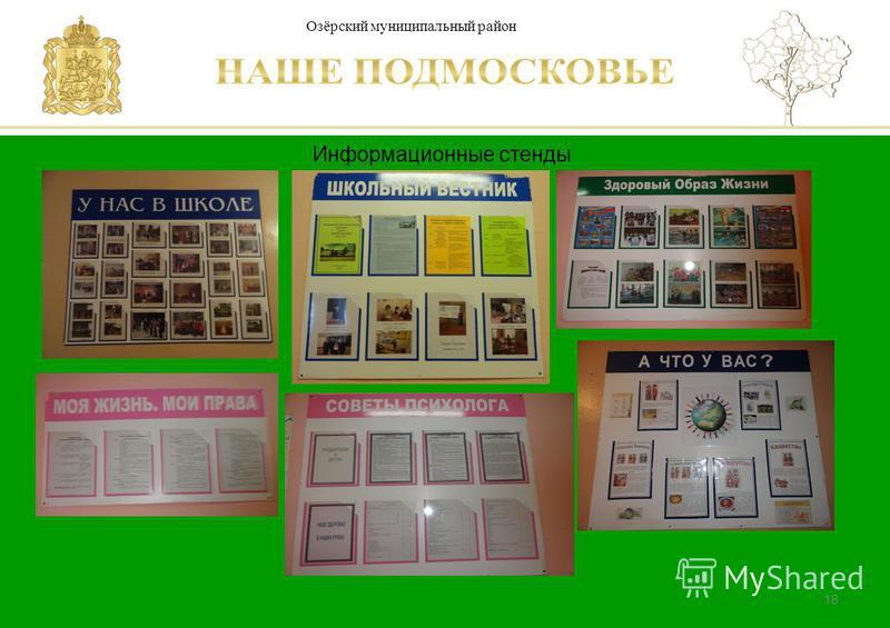 Паспорт школы Люберецкий муниципальный район 18 Информационные стенды Озёрский муниципальный район