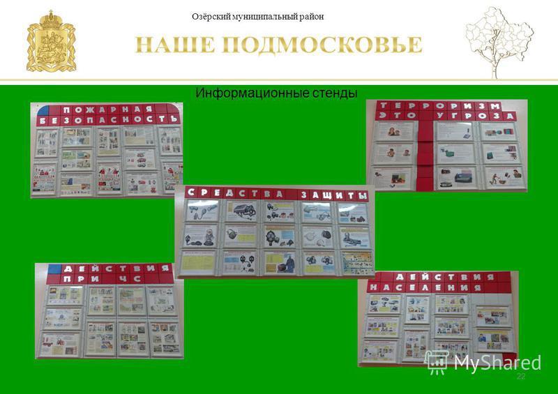 Паспорт школы Люберецкий муниципальный район 22 Информационные стенды Озёрский муниципальный район
