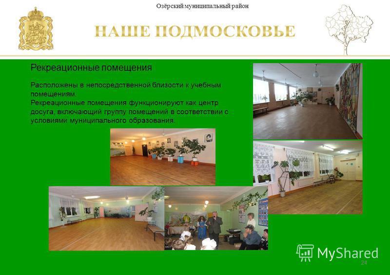 Паспорт школы Люберецкий муниципальный район Министерство образования Московской области 24 Рекреационные помещения Расположены в непосредственной близости к учебным помещениям. Рекреационные помещения функционируют как центр досуга, включающий групп