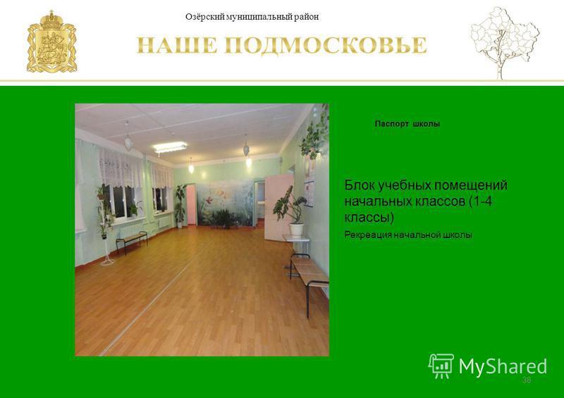 Паспорт школы Люберецкий муниципальный район 38 Блок учебных помещений начальных классов (1-4 классы) Рекреация начальной школы Озёрский муниципальный район