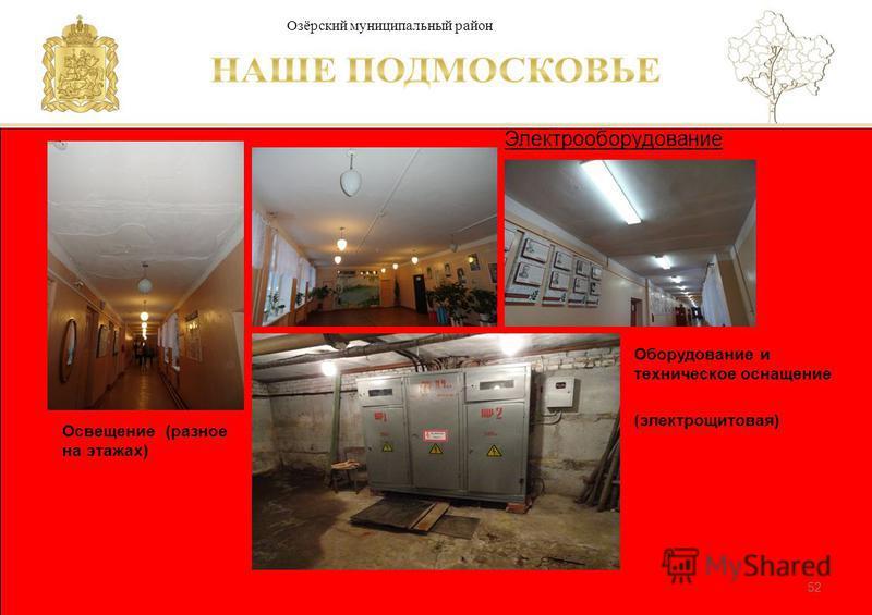 Паспорт школы Люберецкий муниципальный район 52 Электрооборудование Озёрский муниципальный район Оборудование и техническое оснащение (электрощитовая) Освещение (разное на этажах)