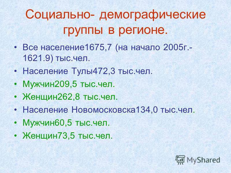 Все население 1675,7 (на начало 2005 г.- 1621.9) тыс.чел. Население Тулы 472,3 тыс.чел. Мужчин 209,5 тыс.чел. Женщин 262,8 тыс.чел. Население Новомосковска 134,0 тыс.чел. Мужчин 60,5 тыс.чел. Женщин 73,5 тыс.чел.