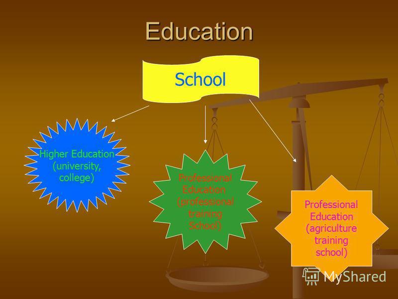 Education School Higher Education (university, college) Professional Education (professional training School) Professional Education (agriculture training school)