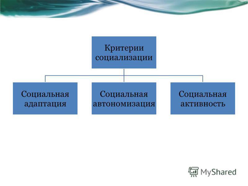 Критерии социализации Социальная адаптация Социальная автономизация Социальная активность
