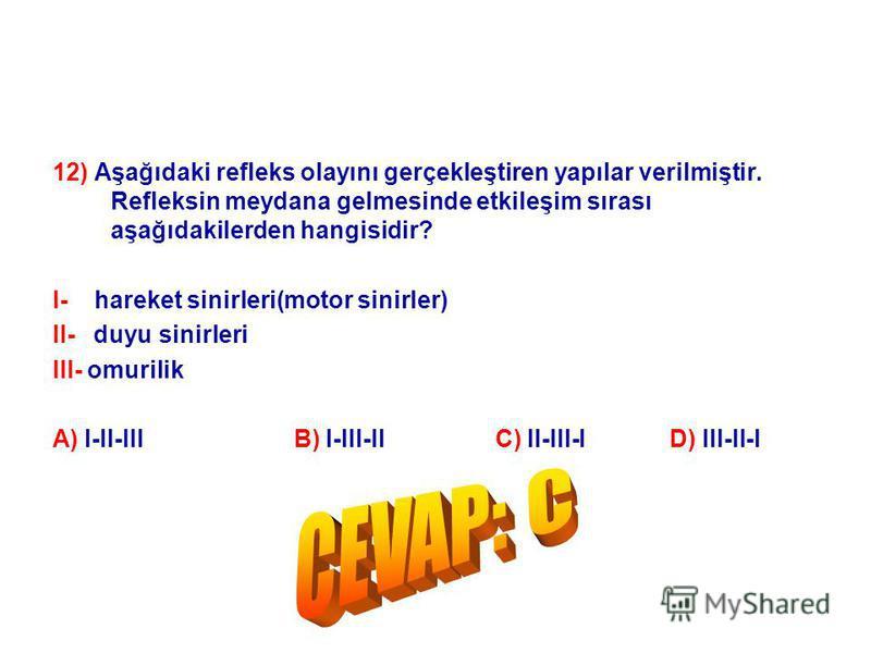 12) Aşağıdaki refleks olayını gerçekleştiren yapılar verilmiştir. Refleksin meydana gelmesinde etkileşim sırası aşağıdakilerden hangisidir? I- hareket sinirleri(motor sinirler) II- duyu sinirleri III- omurilik A) I-II-III B) I-III-II C) II-III-I D) I