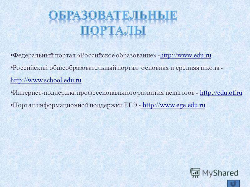 Федеральный портал «Российское образование» -http://www.edu.ruhttp://www.edu.ru Российский общеобразовательный портал: основная и средняя школа - http://www.school.edu.ru http://www.school.edu.ru Интернет-поддержка профессионального развития педагого