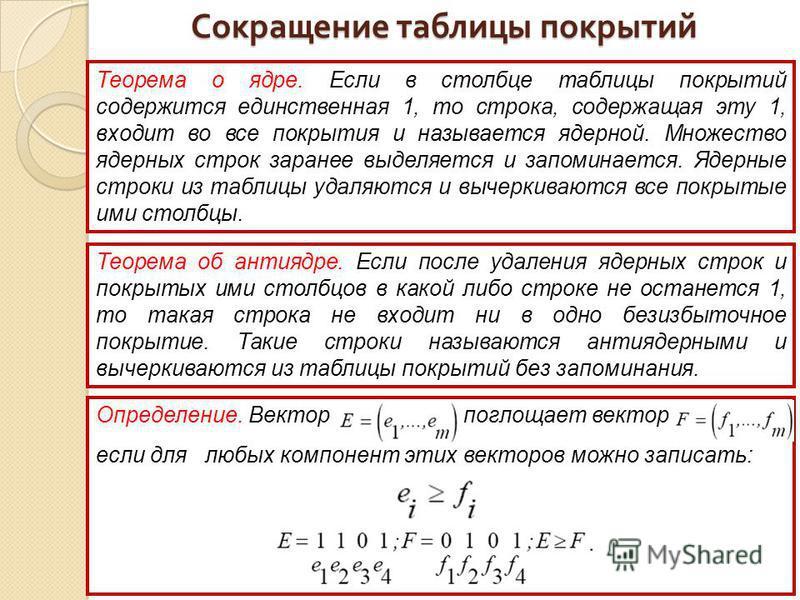 Теорема о ядре. Если в столбце таблицы покрытий содержится единственная 1, то строка, содержащая эту 1, входит во все покрытия и называется ядерной. Множество ядерных строк заранее выделяется и запоминается. Ядерные строки из таблицы удаляются и выче