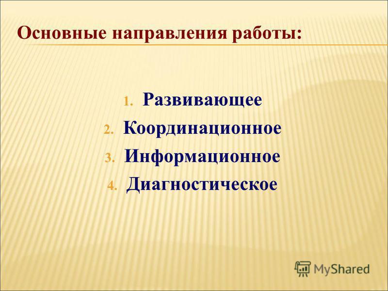 1. Развивающее 2. Координационное 3. Информационное 4. Диагностическое Основные направления работы:
