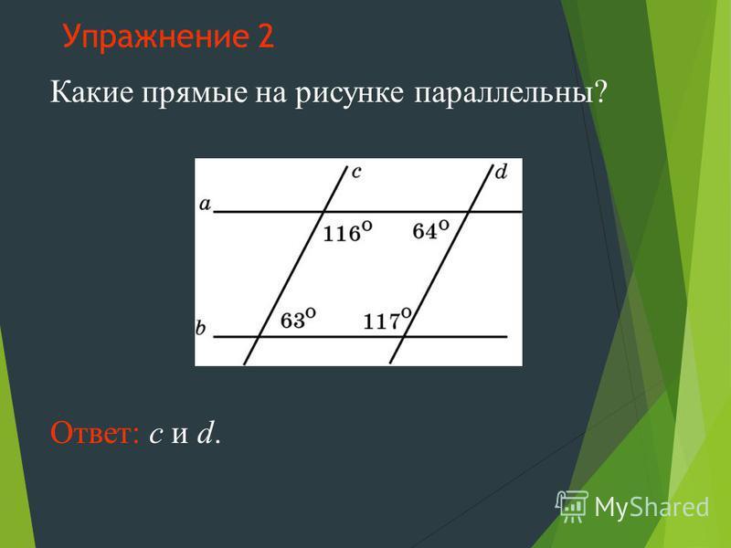 Упражнение 2 Какие прямые на рисунке параллельны? Ответ: c и d.