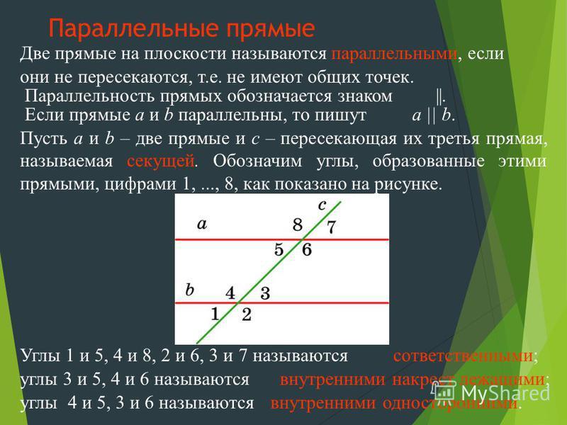 Две прямые на плоскости называются параллельными, если Углы 1 и 5, 4 и 8, 2 и 6, 3 и 7 называются Параллельность прямых обозначается знаком Пусть a и b – две прямые и c – пересекающая их третья прямая, называемая секущей. Обозначим углы, образованные