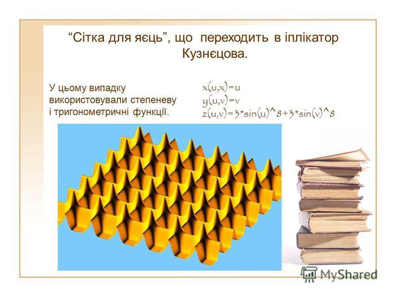 Сітка для яєць, що переходить в іплікатор Кузнєцова. У цьому випадку використовували степеневу і тригонометричні функції. x(u,x)=u y(u,v)=v z(u,v)=3*sin(u)^8+3*sin(v)^8