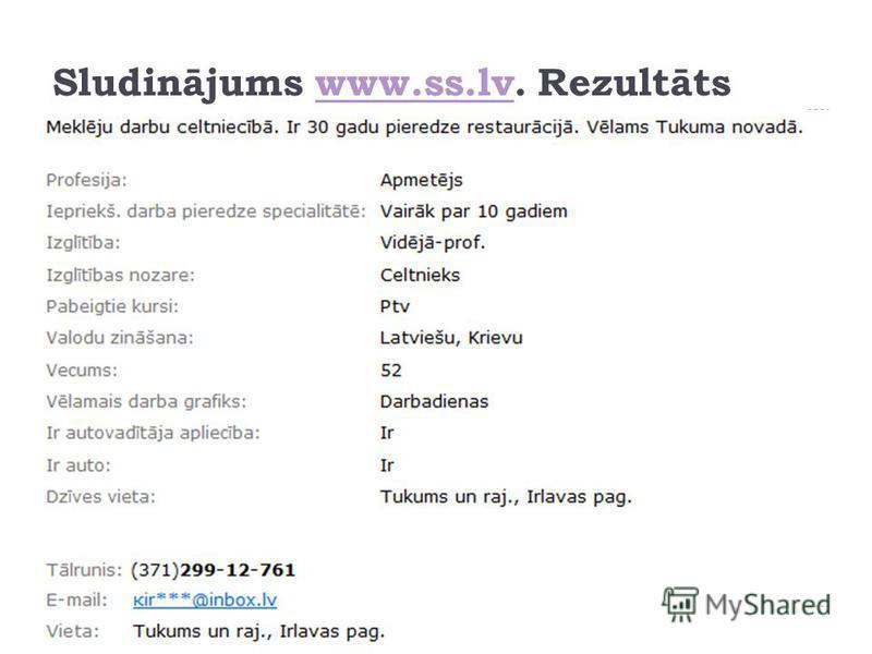 Sludinājums www.ss.lv. Rezultātswww.ss.lv