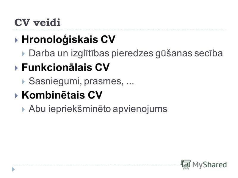 CV veidi Hronoloģiskais CV Darba un izglītības pieredzes gūšanas secība Funkcionālais CV Sasniegumi, prasmes,... Kombinētais CV Abu iepriekšminēto apvienojums