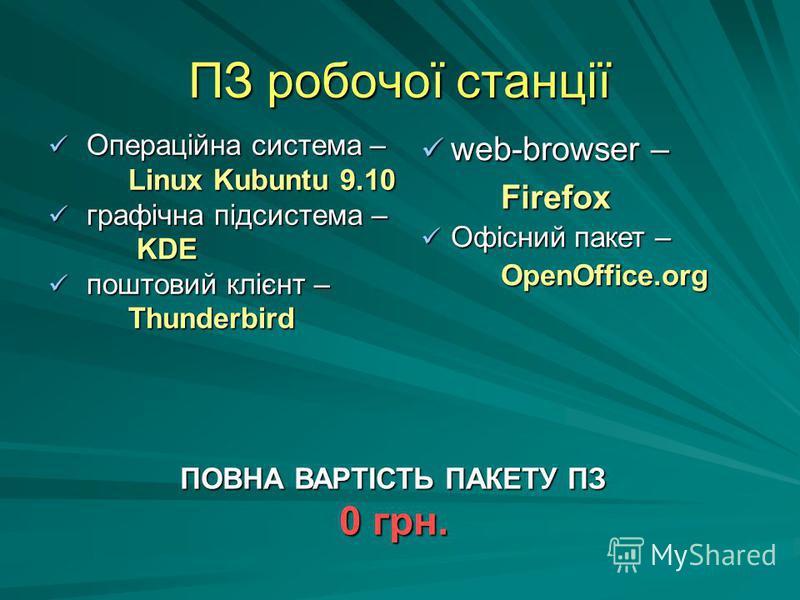 ПЗ робочої станції Операційна система – Операційна система – Linux Kubuntu 9.10 графічна підсистема – графічна підсистема – KDE KDE поштовий клієнт – поштовий клієнт – Thunderbird Thunderbird web-browser – web-browser – Firefox Firefox Офісний пакет
