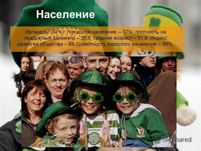 Население Ирландцы (92%). Городское население – 57%; плотность на квадратный километр – 55,5; средний возраст – 31,9. Индекс развития общества – 93. Грамотность взрослого населения – 99%.